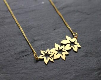 Gold Flower necklace, Boho Necklace, Brass necklace, Gold Necklace for women, Bohemian necklace, Geometric necklace, Layering necklace