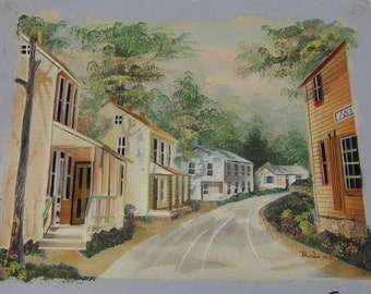 Redmond Original Oil on Canvas Painting Country Old Town Street Scene Unstretched