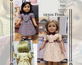 """PDF Pattern KDD05 """"1930s Frock"""" -An Original KeepersDollyDuds Design, 18"""" Doll Clothes Fits American Girl"""