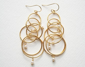 Pearl Earrings, Bridal Earrings, Pearl Jewelry, Modern Earrings