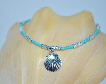 Ankle Bracelet Shell Charm, Turquoise Bead Anklet, Shell Charm Anklet, Palm & Shell Anklet, Turquoise and Silver Anklet, Beachy Shell Anklet