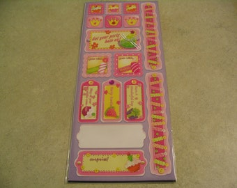 16 Piece Party Stickers and Tags Craft Scrapbook Supplies