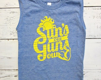 Suns Out Guns Out toddler muscle shirt. Funny Summer baby and toddler muscle tshirt.