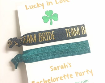 Bachelorette Party Favors, St Patricks Day Party, Shamrock Bachelorette Party, Irish Wedding Favors, Hair Tie Bracelet, Elastic Hair Tie