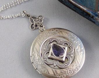 Iolite Locket,Purple Locket,Antique Locket,Silver Locket,Purple Locket,Iolite,Iolite Necklace,Gemstone Locket,Gemstone Necklace,Genuine