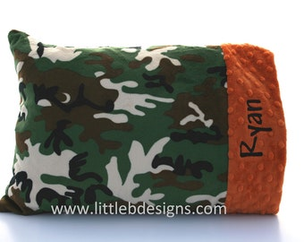 Personalized Toddler Pillow Case and Pillow - Choose From Over 24 Different Minky Colors