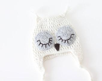 Newborn owl - Owl boys hat - Photo prop hat - Newborn props - Baby boy props - Photo prop owl - Baby boy props -Photo prop owl hat - Cream