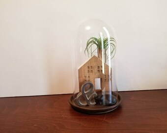 """Tall Glass Dome with Wood Base - 10"""""""