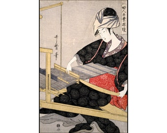 Woman Weaves - Vintage Print - Japanese Art - Woman Print - Japanese Wall Decor - Ukiyo-e - Digital Download - Digital Print - Utamaro