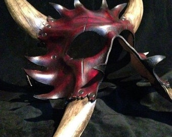 Red Leather demon horned mask
