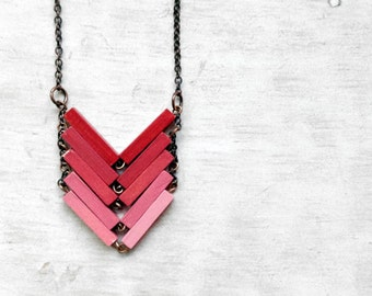 Wood Geometric Necklace // RED SUN // Minimal Jewelry // Red // Coral // Pink // Hand-Painted Necklace // Modern Necklace / Chevron Necklace