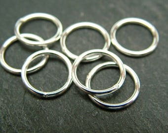 Sterling Silver Closed Jump Ring 10mm ~ 18ga