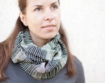 Infinity Scarf Versatile Cowl Loop Black Stripes urban modern neutral geometric men women