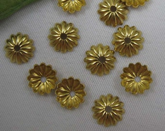 100pcs Small 6mm Bead Cap Raw Brass Jewelry Findings Supplies ca001
