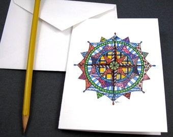 Compass Rose Stationery Set - Set of 8 Blank Inside Card Set - Colorful Compass notecards
