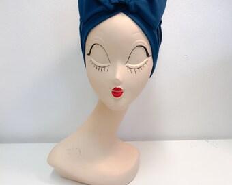 """Turban """"Rosie"""", petrol blue, stretchy cotton, headwrap"""
