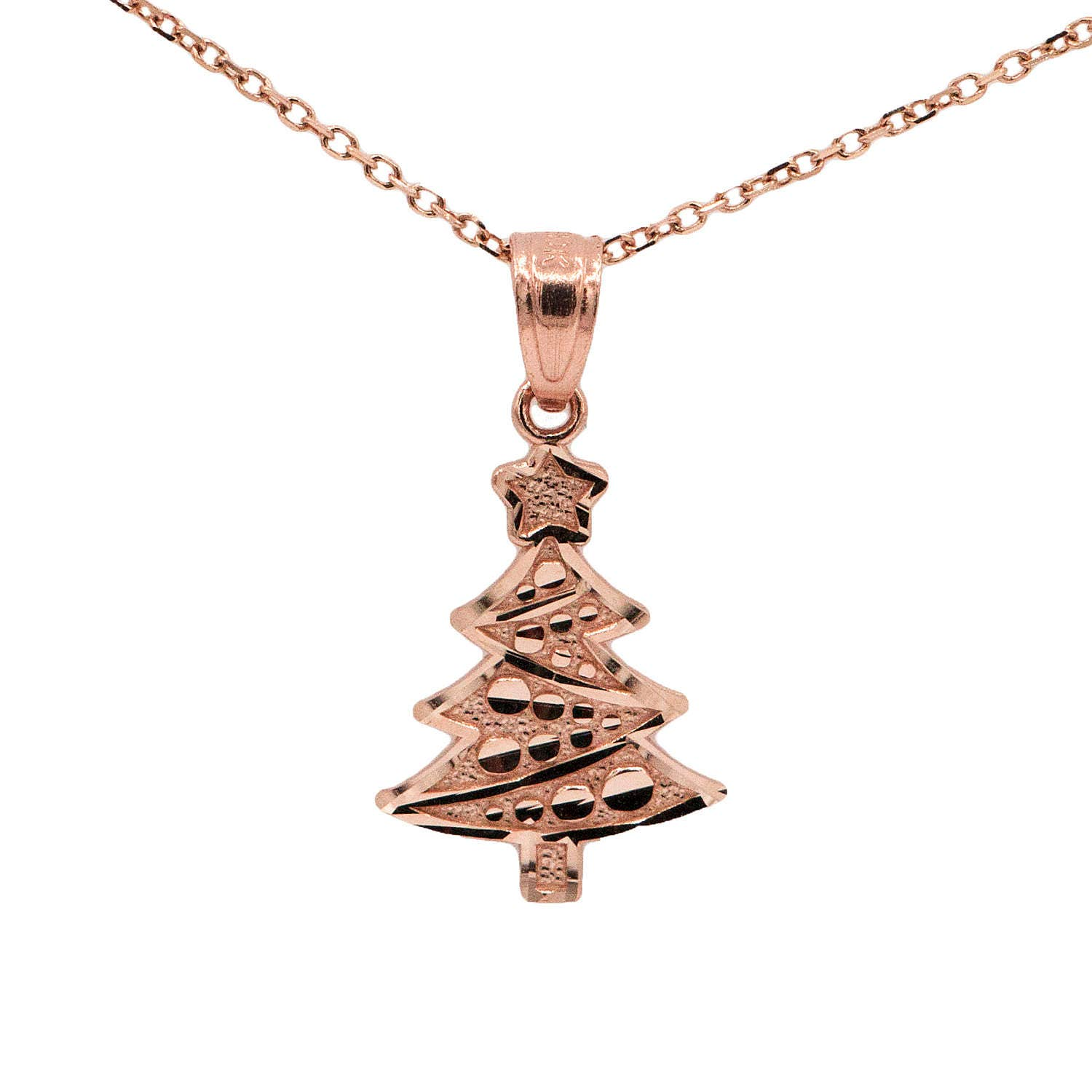 10k Rose Gold Christmas Tree Necklace