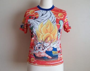 Vintage 90s Kids Dragon Ball Z All Over Print Photo Crew Neck T-shirt. Stretchy Polyester. Club Kid Raver Anime Small Women's Top. Red