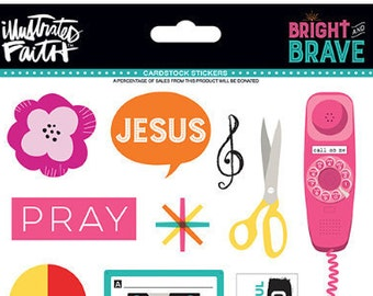 Bright and Brave, Cardstock Stickers, Illustrated Faith, NEW LIMITED EDITION, Bible Journaling, Faith Journaling, Planner Art, Happy Planner