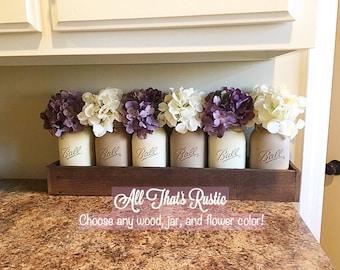 6 Jar Planter Set, Mason Jar Centerpiece, Rustic Home Decor, Mason Jar Decor, Farmhouse Decor, Table Decor, Kitchen Decor, Home Decor, Gift