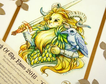 Queen Of The Rott - MarchOfTheFauns 2018 Limited Edition Double Matted Faun Print with Story Scroll
