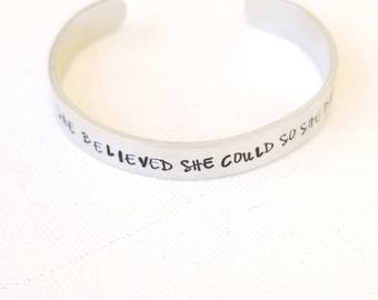 Custom Hand Stamped Jewelry Cuff She Believed She Could So She Did Inspirational  Quote  Motivational Quote