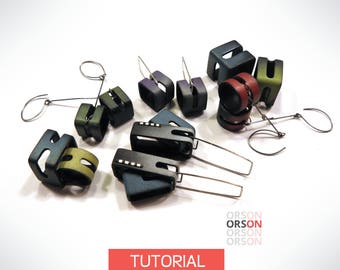 Orson's Original GEO earrings in Polymer Clay Original tutorial e-book in English ONLY