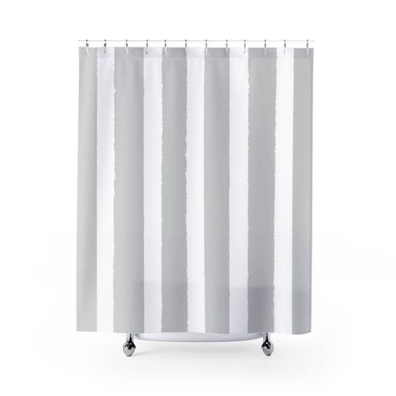 Silver gray Shower Curtain . Grey Striped Shower Curtain . Modern Gray Shower Curtain . Shower Curtain . Silver gray Striped Shower Curtain