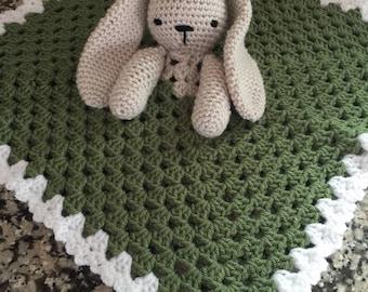 Crochet Bunny Rabbit Lovey Security Travel Blanket Wubby