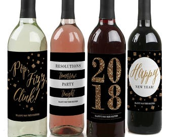 New Year's Eve Wine Labels - Gold & Black Wine Bottle Labels - Personalized 2018 New Year's Party Supplies - Happy New Year - 4 Wine Labels