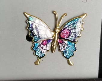 Brooch-sparkly multi colored butterfly