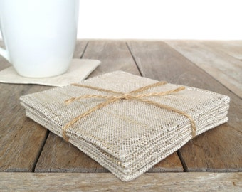 Set of 4 Gold Metallic Linen Coasters, Fabric Coasters, Metallic Coasters, Modern Coasters, Drink Coasters, Outdoor Coasters, Mug Rugs