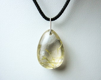 Golden Rutilated quartz necklace / Golden Rutilated quartz Pendant / healing crystals and stones / Crystal Necklace / Gems Crystal pendant