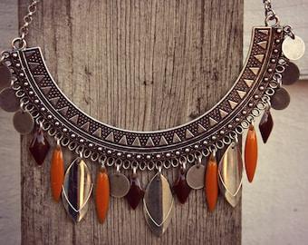 Ethnic Necklace, Choker Necklace, Boho Necklace, Woman Necklace, Ethnic Silver Necklace, Bohemian Necklace, Silver Necklace, Charms Necklac