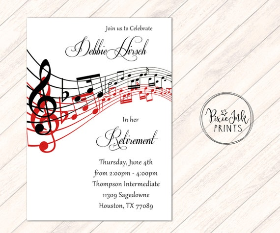 music notes retirement invitation music retirement party
