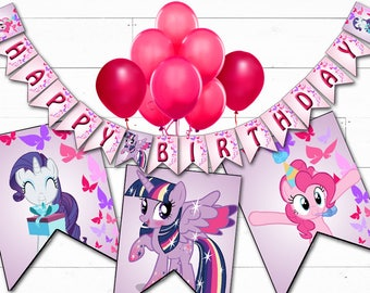 MY LITTLE PONY Birthday Banner Printable Digital My Little Pony Banner, My Little Pony Party Decorations, My Little Pony Birthday Party