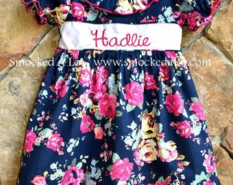 Girls Monogrammed Name Dress with ruffles- Navy Pink Floral Rose Fabric by Smocked A Lot Birthday Vintage Inspired Bishop Outfit