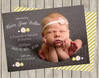 Sweet Little Lady Birth Announcement   Floral   Gold Stripes (5x7)