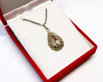 Old pendant silver 835 Pearl rubies shabby vintage rar SK1046