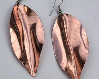 Large copper leaf earrings unique nature earrings metal leaves