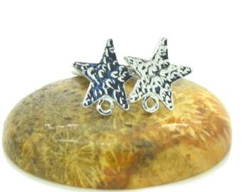 4 silver 13mm star studs earrings