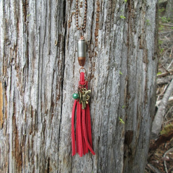 Red Leather Fringe Bullet Necklace with Brass Charms