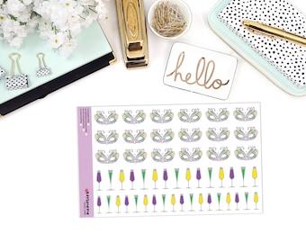 MARDI GRAS MADNESS Paper Planner Stickers