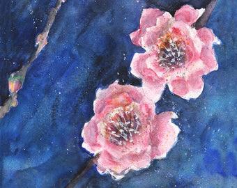 Cherry Blossom Flower Botanical Watercolor Print 8x8
