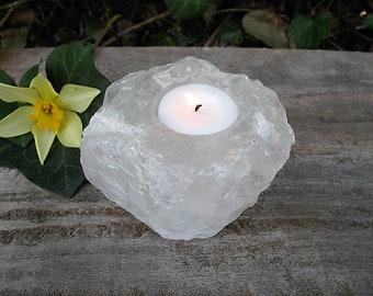 Quartz crystal candle holder, stone candle holder, votive candleholder, qrcnd2