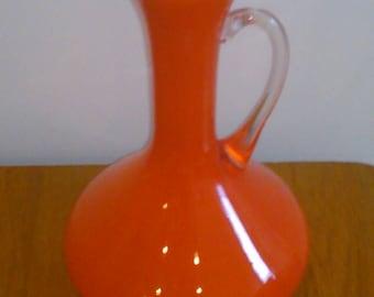 Orange Glass Pitcher White Interior