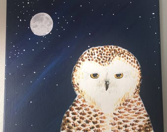 Midnight Snowy Owl