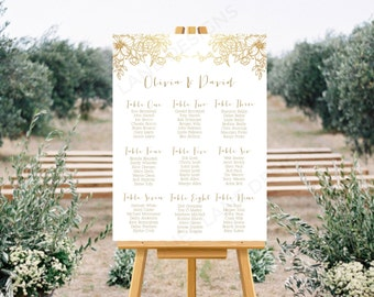 Personalised Printable, Wedding Seating Chart, Wedding Table Plan, Gold Floral Collection - WCB62