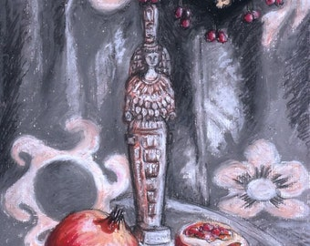 "Original Oil Pastel Painting, 8"" x 11"", Small size art, Still-Life, Impressionist Art, Pomegranate, Ephesus, Wall Decor, Gift idea"