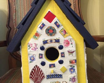 Yellow and Navy Mosaic Birdhouse